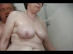 Despondent granny wash up
