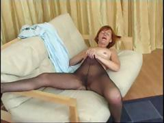 Redhead granny in pantyhose..