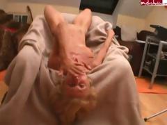 Skinny blonde granny gets..