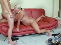 Blonde granny gets her ass..