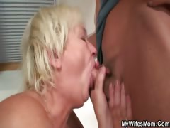 Horny granny seduces her son..