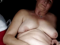 Hairy granny masturbates and..