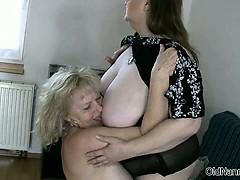 Horny granny with big bowels..