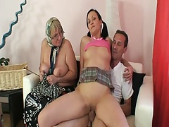 Elderly man with granny and..