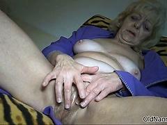 Nasty blonde slut gets horny