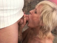 Oozing your cock on grandma