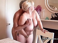 Busty granny fucked with an..